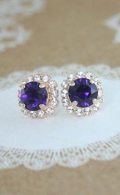 Purple crystal earrings | purple earrings | amethyst earrings | purple wedding | amethyst wedding | royal purple wedding | www.endorajewellery.etsy.com