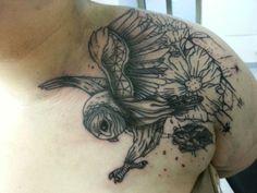 Owl, Flowers.