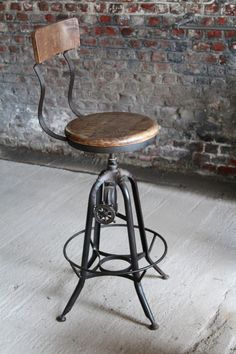Industrial bar stool in wood and metal - UK : Industrial stool and furniture Industrial Bar Stools, Industrial Design Furniture, Metal Bar Stools, Vintage Industrial Furniture, Industrial Interiors, Bar Furniture, Shabby Chic Furniture, Furniture Design, Furniture Stores