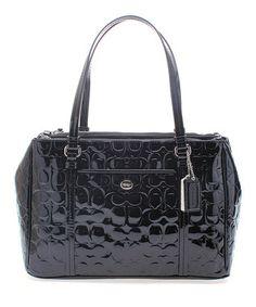 Black Peyton Signature 'C'-Embossed Patent Leather Tote