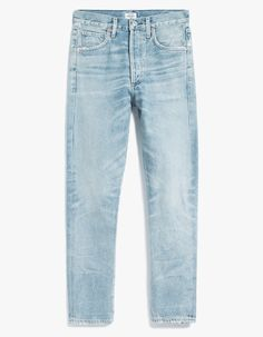 90s-inspired jeans from Citizens of Humanity in a light wash Savana. Button fly with top button closure. Classiv five-pocket styling. Whiskering at thighs. Moderate distressing throughout. Slim straight leg. High rise. Made in USA with imported materials.