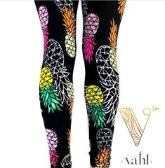 Malibu - a beachy pineapple print in buttery soft leggings at Vahl  | #vahlinlove | See more leggings and fab fashion at  https://thevahl.com/?aff=575 | #butterysoft #butterleggings #leggingsarelife #leggingsarepants #buttermybuns #vahl #leggings