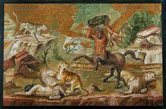 Centaurus hunting tigers. Mosaic (1st-3rd CE).   Staatl.Museen,Antikensammlung, Berlin, Germany