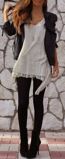 #fall #outfits / black + ivory