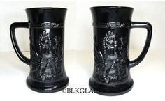 2 Tiara Black Glass Steins Stein Tavern Scene Dog Tankard Barware 3-D Left Hand - Tiara