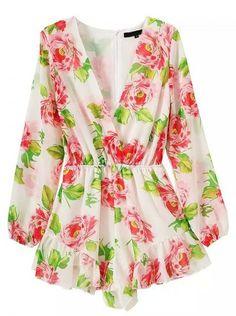 Multicolor Floral V-neck Long Sleeve Romper Playsuit