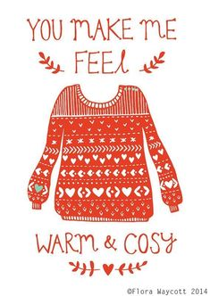 Warm and Cosy Valentine's Day card 2014 Flora Waycott - von florawaycott auf Etsy Christmas Jumper Day, Christmas Jumpers, Red Christmas, Christmas Sweaters, Winter Illustration, Christmas Illustration, Valentines Art, Christmas Drawing, Winter Art