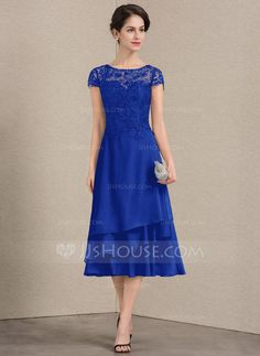 645e1dc91 A-Line/Princess Scoop Neck Tea-Length Chiffon Lace Mother of the Dress -  Mother of the Bride Dresses - JJsHouse
