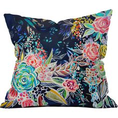 Add a pop of color to your favorite chaise or arm chair with this eye-catching pillow, featuring a bold floral motif.  Product: ...