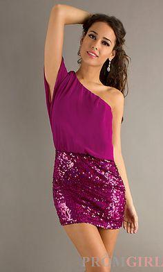 Short Pink One Shoulder Dress at PromGirl.com