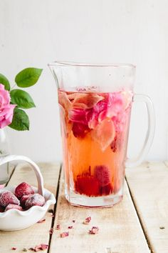Rose, Lemon & Strawberry Infused Water: