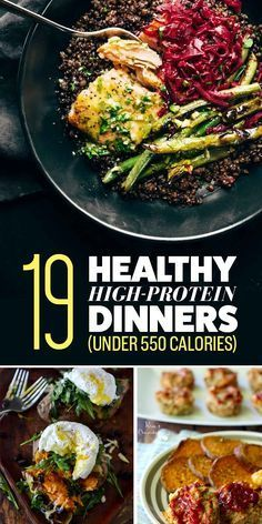 19 High-Protein Dinners Under 550 Calories You'll Actually Want To Eat - Healthy Eating - Kalorienarme Rezepte High Protein Dinner, High Protein Low Carb, High Protein Recipes, Healthy Recipes, Protein Foods, Protein Cake, Protein Sources, 500 Calorie Meals, High Calorie Dinners