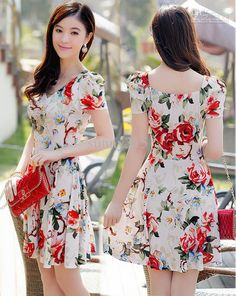 2015 Summer Dresses Women Princess Puff Sleeve Floral Print Vintage Dress Plus Size Lady Elegant Sexy Mini Pleated Skirts Online with $18.35/Piece on Sunny315's Store   DHgate.com