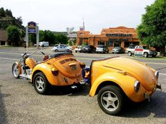 VW Trike pulling a Trailer thats is the front of a Bug !