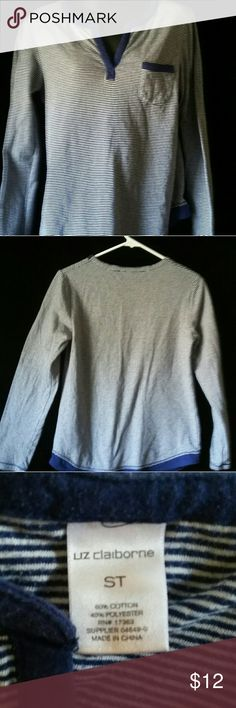 Liz Claiborne striped knit top Good used condition,  striped blue and white knit top, 60% cotton @40%polyester Liz Claiborne Tops Tees - Long Sleeve