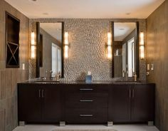 Walnut Contemporary Bath - modern - bathroom vanities and sink consoles - boston - Scandia Kitchens Inc.