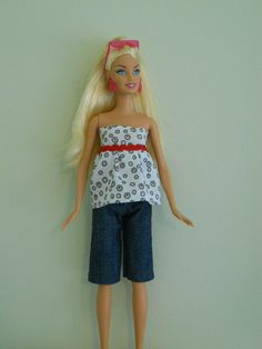 Barbie Fashion Doll Halter Top and Denim Shorts by HoleInMyBucket, $5.00