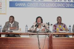 • Prof. Miranda Greenstreet (middle), Co-Chair, Coalition of Domestic Election Observers (CODEO), addressing the press conference. Picture: MAXWELL OCLOO