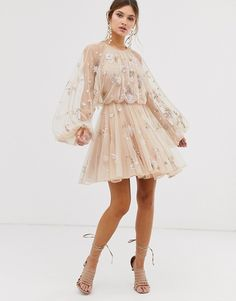 Shop ASOS EDITION floral beaded mesh dress with balloon sleeve. With a variety of delivery, payment and return options available, shopping with ASOS is easy and secure. Shop with ASOS today. Elegant Dresses, Pretty Dresses, Beautiful Dresses, Fairy Dress, Short Dresses, Formal Dresses, Ball Dresses, Mode Inspiration, Homecoming Dresses
