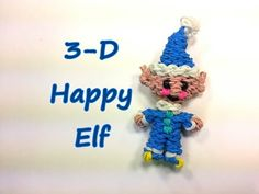 Happy Elf Tutorial by feelinspiffy (Rainbow Loom) I made it with white and teal Rainbow Loom Christmas, Rainbow Loom Charms, Rainbow Loom Bands, Rainbow Loom Bracelets, Rainbow Loom Tutorials, Rainbow Loom Patterns, Rainbow Loom Creations, Rainbow Loom Characters, Rubber Band Crafts