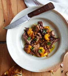 Braised Lamb with Roasted Squash and Onion Sauce / William Abranowicz
