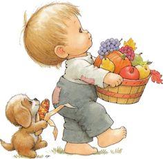 enfant avec une corbeille de fruits d'automne