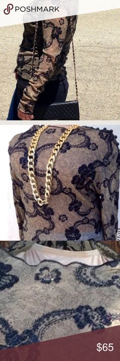 Preview! Sheer Lace Sparkle Top Stunning piece! Practically new, worn once. Intricate black glittered floral design with nude and black lace. Daintily trimmed with black glitter. This blouse takes the cake!  👗The Chic Shed; A Current and Classic Fashion Curation.👗 🎀10% OFF 2/15% OFF 3+ ITEM BUNDLE🎀 😊PLEASE USE OFFER BUTTON ❌NO PP, TRADES, HOLDS❌  🛍ITEMS ALWAYS 100% AUTHENTIC🛍 👑SUGGESTED USER👑 Tops Blouses