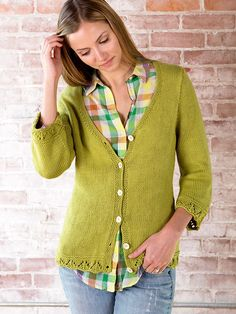 Carioca Cardigan Free Knitting Pattern  From our friends at Berroco, Carioca is a pretty cardigan knitting pattern.  It has 3/4 sleeves and eyelet lace detail on sleeve edges and bottom hem.