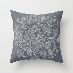 Jacobean Inspired Light on Dark Grey Floral Doodle Throw Pillow by Micklyn - $20.00