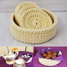 Inspiração cesto e porta copos ou descanso para xícaras super fofo By @mary_deco_ #mesaposta #crochet #basket #coaster #portacopos #crochet #fiosdemalha #trapillo