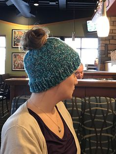 b744f6d97a0b A very simple knit messy bun beanie using bulky weight yarn. This took less  then