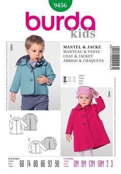 Manteau burda 9456 garçon et fille de 6 mois à 3 ans