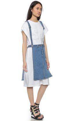 SJYP Open Side Denim Apron Skirt