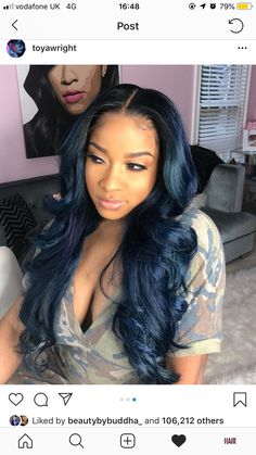 follow me for more wavy pins @bartierbrii💗 Black Hairstyles With Weave, Sew In Hairstyles, Black Girls Hairstyles, Pretty Hairstyles, Blue Hair Black Girl, Midnight Blue Hair, Curly Hair Styles, Natural Hair Styles, Hair Laid