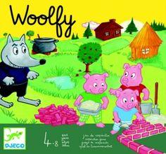 djeco - woolfy jeu de société de coopération des 3 petits cochons