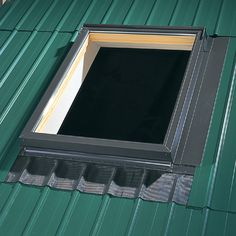 VELUX Deck Mount Metal Roof Aluminum Flashing Kit for Skylights at Lowe's. VELUX EDM deck mount skylight flashing is designed to work with metal roofing. The sill apron features pliable pleats that form to the roof, and the kit Corrugated Roofing, Steel Roofing, Corrugated Metal, Roof Skylight, Roof Window, Roof Flashing, Roof Detail, Patio Roof, Metal Buildings