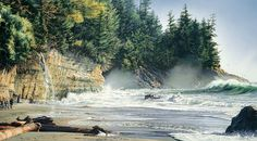 """""""Mystic Beach"""" watercolor by artist Carol Evans. Surf crashes on the beach, producing white, foamy waves and mist at the base of the cliffs. Wonderful variety of trees above. Watercolor Artists, Watercolor Landscape, Landscape Paintings, Watercolor Paintings, Watercolors, Cool Paintings, Beautiful Paintings, Evans Art, Beach Watercolor"""