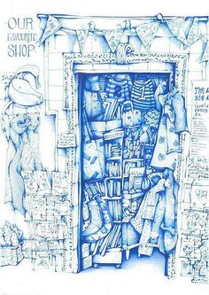 This drawing is currently being exhibited at the Derbyshire Open Art competition/exhibition in Buxton gallery. It's drawing of my favourite shop, Atticus Boo, where I buy all my sketchbooks. Can you se the Moleskine stand?   Blogged here; andreajoseph24.blogspot.co.uk/2013/07/our-favourite-shop_...