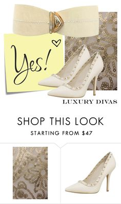 """""""Ivory and Gold"""" by luxurydivas ❤ liked on Polyvore featuring Post-It, women's clothing, women, female, woman, misses and juniors"""
