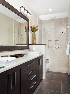 This is a great way to make the most of a long/narrow bathroom (and proof that you don't need a tub to make it luxurious). Description from pinterest.com. I searched for this on bing.com/images