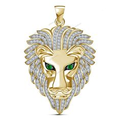 "Round Cut Diamond 14k Yellow Gold Plated Lion Head Unisex Pendant ""Free Pouch""…"