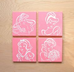 modern princess art. 4 - 12x12 canvases. disney. snow white, ariel, belle, cinderella. hand painted original art. pink, white, custom