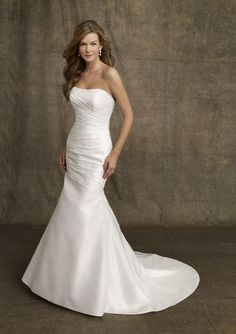 2016 A Line Simple White Mermaid Strapless Ruched Satin Chapel Train Bridal Gown In Canada Wedding Dress Prices