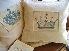 Crown Pillows, beautiful addition to Country French decorating.