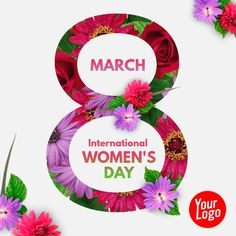 Happy Woman Day, Happy Women, Women's Day Cards, Share Online, 8th Of March, Growing Flowers, Free Downloads, Social Media Graphics, Custom Posters