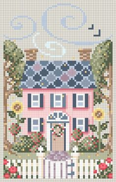Discover thousands of images about Free cross stitch patterns. A House For All Seasons counted cross stitch charts, free cross stitch pattern. Cross Stitch House, Cross Stitch Charts, Cross Stitch Designs, Cross Stitch Patterns, Cross Stitching, Cross Stitch Embroidery, Beading Patterns, Embroidery Patterns, Loom Patterns