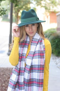 Wool green fedora for fall with a blanket scarf