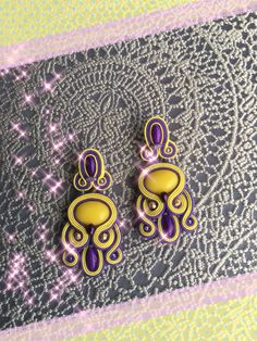 Soutache earrings yellow, purple, glowing in the dark
