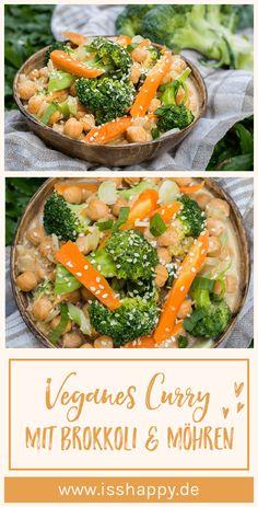 Curry de brocoli végétalien - crémeux, délicieux et sain - Gesunde Ernährung / Inspiration / Diäten / Rezepte - Clean Eating Vegetarian, Clean Eating Recipes, Veggie Recipes, Vegetarian Recipes, Healthy Recipes, Healthy Foods, Broccoli Curry, Broccoli Salad, Lunch Saludable