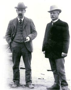 Wyatt Earp, left, in Nome, Alaska with long-time friend and former Tombstone mayor and newspaper editor John Clum.